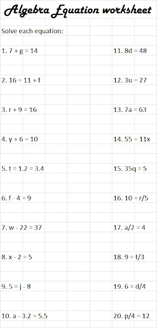 Next each student will work on a worksheetreviewing equations.