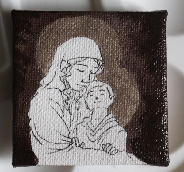 WIP peinture vierge à l'enfant miniature - le fond