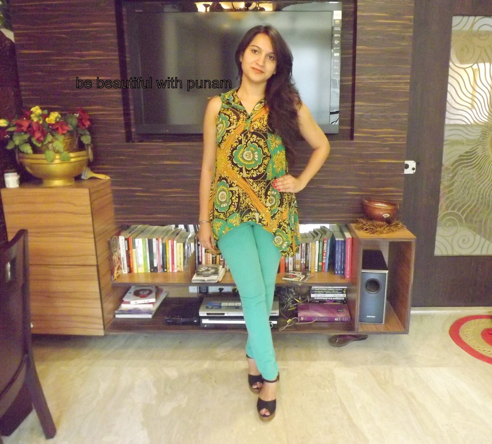 56b71cd3b26 be beautiful with punam  How To Wear Mint Bottom Jeans (outfit post)