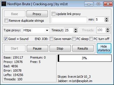 Rekings - hacking tools: NordVPN Brute / Checker