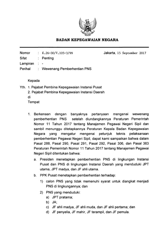 Surat Kepala BKN No K.26-30/V.105-3/99 Tentang Wewenang Pemberhentian PNS