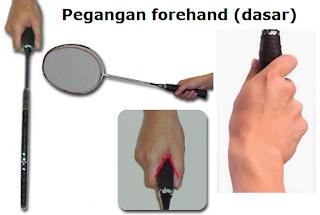 Cara memegang raket bulu tangkis: Pegangan forehand (pegangan dasar)