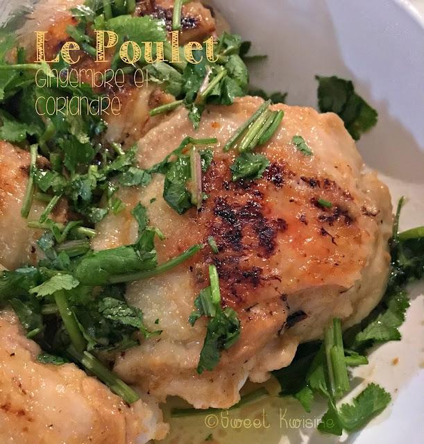 poulet, gingembre, coriandre, cuisson sur papier sulfurisé, cuisson de la volaille