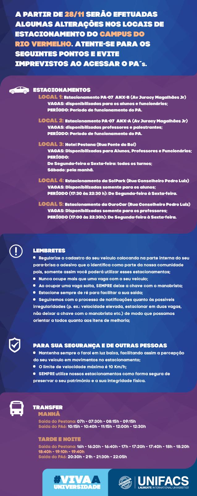 Unifacs divulga alteração de estacionamento no Campus do Rio Vermelho