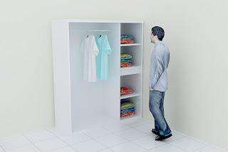lemari pakaian 3 pintu warna putih mengkilat - desain interior semarang