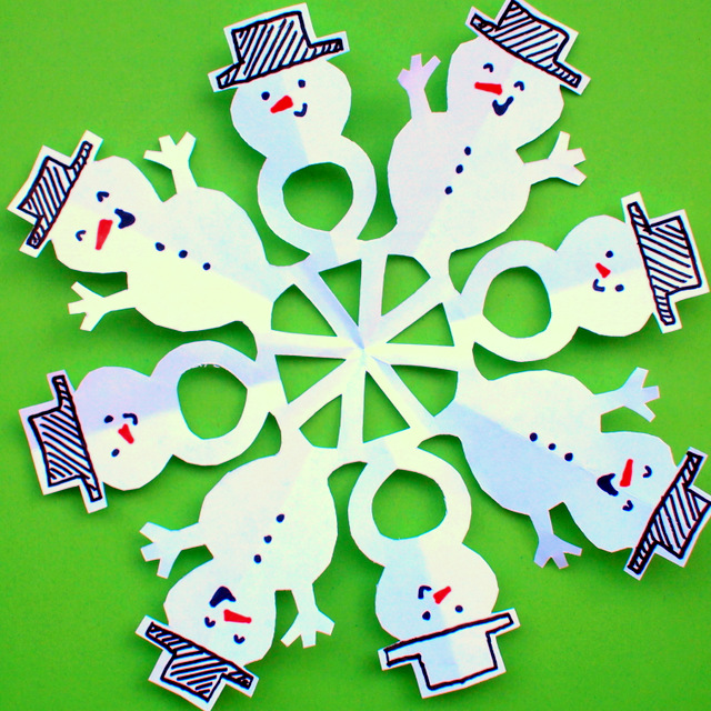 how to cut snowman snowflakes with kids