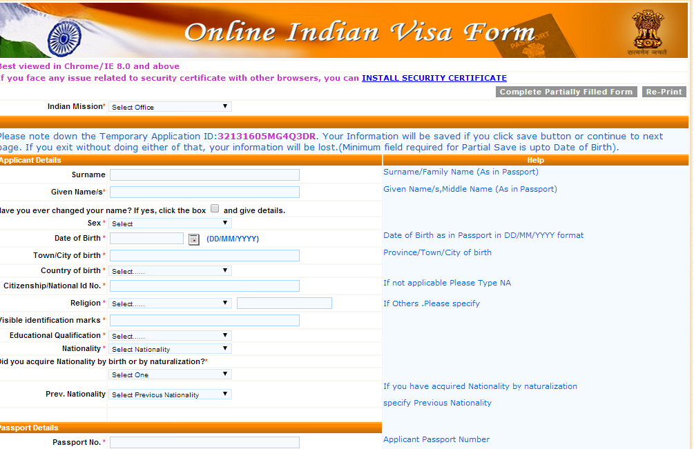 VISA Online Indian Visa Application Form For Desh on