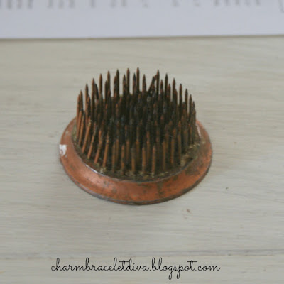 vintage copper metal spiked flower frog