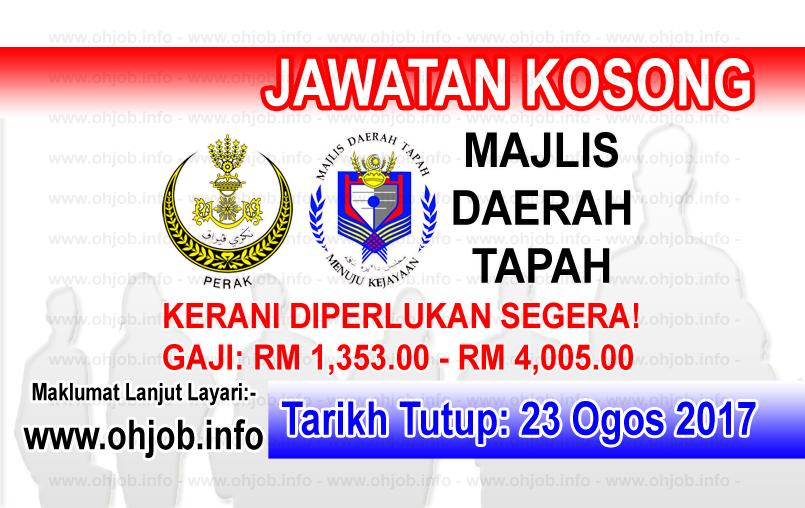 JAwatan Kerja Kosong Majlis Daerah Tapah - MDTapah logo www.ohjob.info ogos 2017