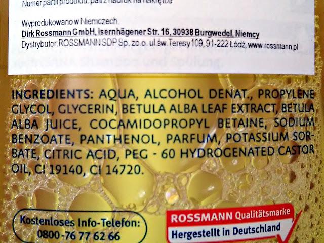 Isana Hair, Birken-Haarwasser - Woda brzozowa do włosów normalnych i z łupieżem, skład