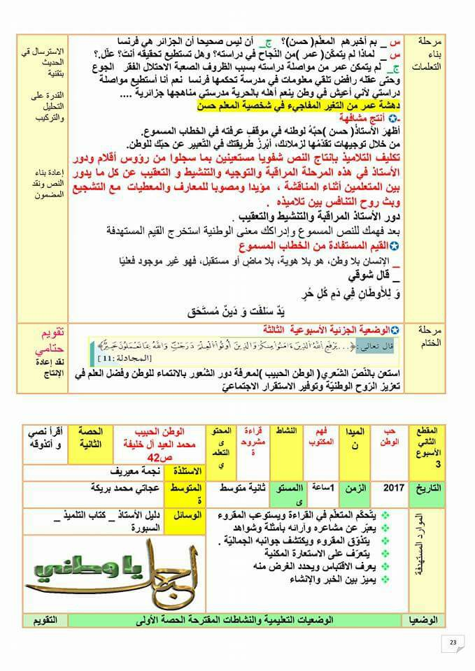 مذكرات اللغة العربية للسنة الثانية متوسط الجيل الثاني 22448125_357831871327069_1934113685789814183_n