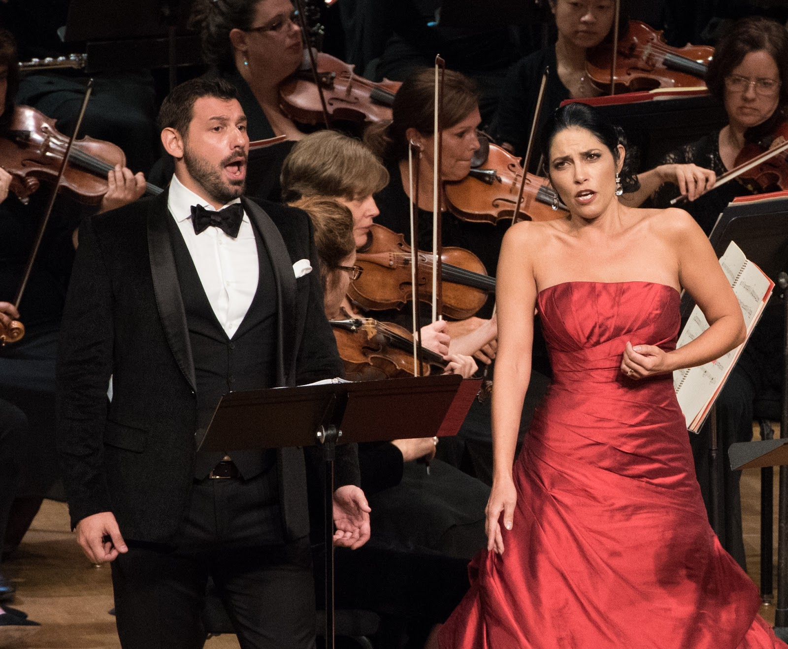 IN REVIEW: Tenor MICHELE ANGELINI and mezzo-soprano VIVICA GENAUX singing Giacomo's and Elena's duet from Act One of Gioachino Rossini's LA DONNA DEL LAGO in Washington Concert Opera's 30th Anniversary Concert [Photo by Don Lassell, © by Washington Concert Opera]