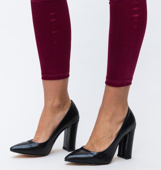 Pantofi dama office cu toc gros inalt negri ieftini