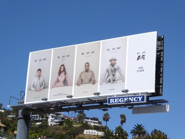 We are A&E Look closer billboard