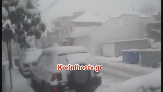 Σφοδρή χιονόπτωση στη Νεμέα