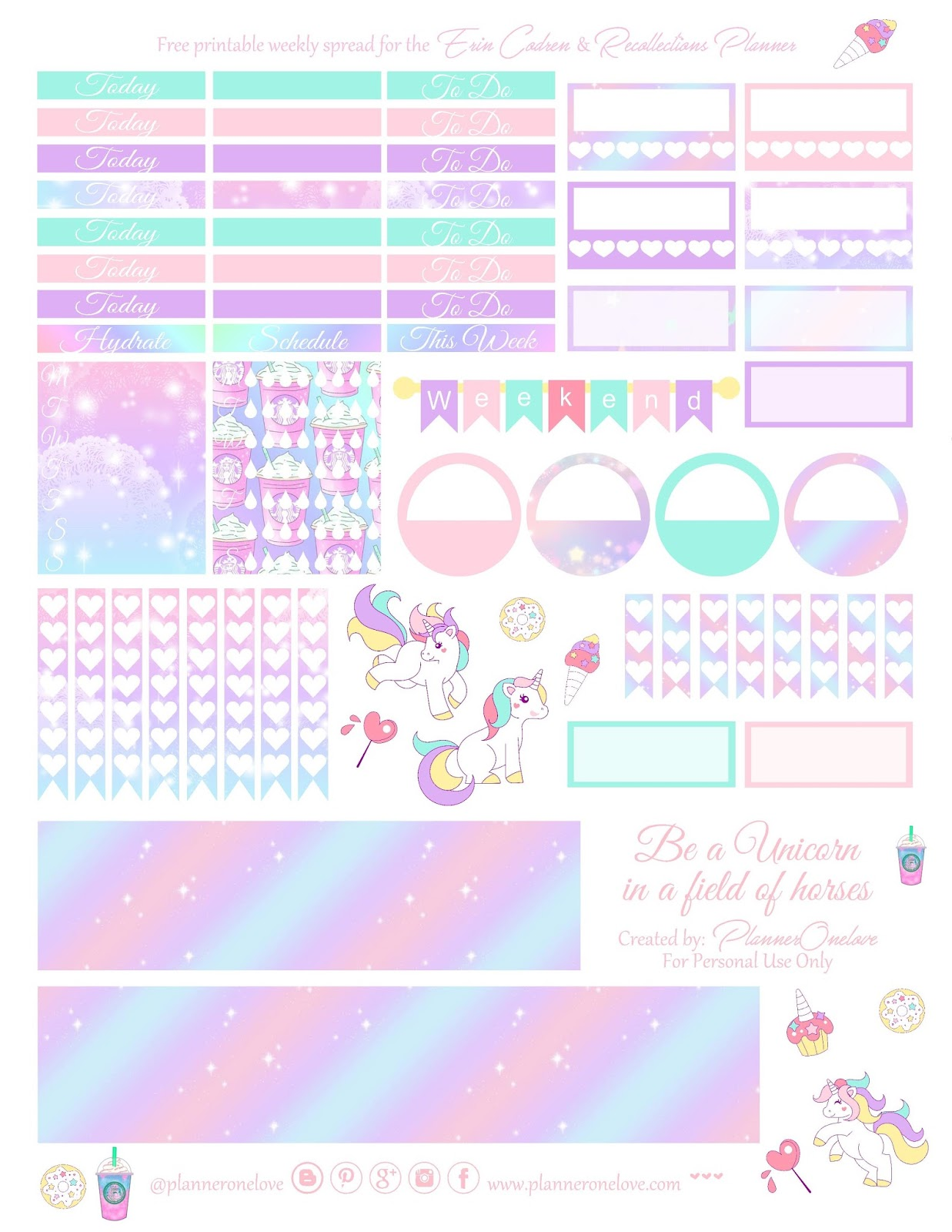 picture regarding Be a Unicorn in a Field of Horses Free Printable referred to as No cost Unicorn printable unfold for the Erin Condren