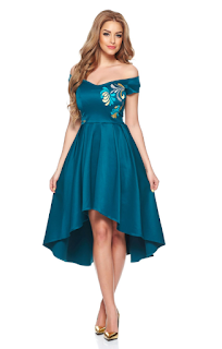 Rochie de ocazie cu croi asimetric, rochie de nunta albastra, rochie de nunta asimetrica, rochie asimetrica ocazie, rochii asimetrice elegante