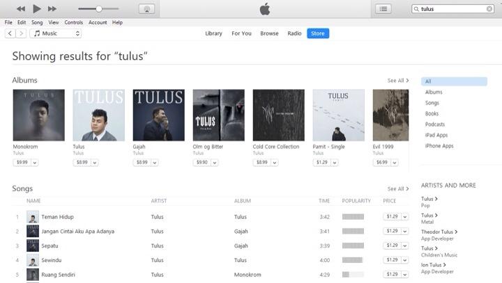 Gambar Hasil Pencarian Lagu di iTunes Store