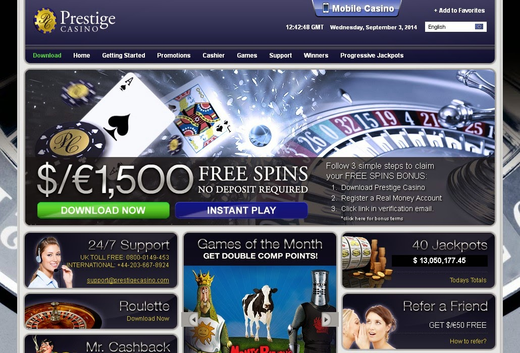 Prestige Casino Screen