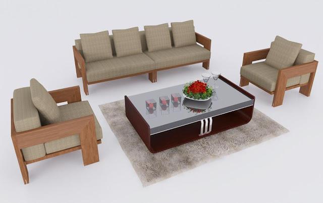 Mẫu ghế sofa gỗ tự nhiên