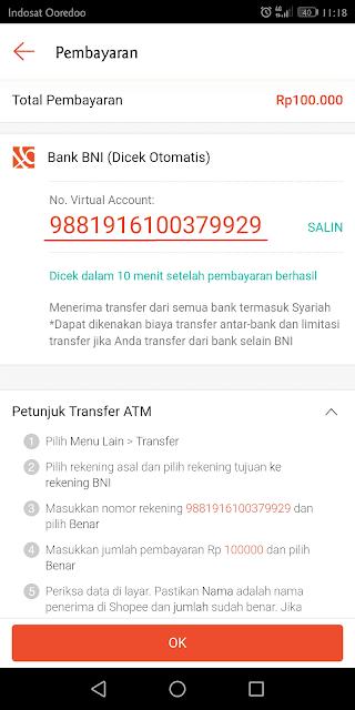 melakukan pembayaran ke nomor rekening tujuan