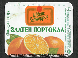 Golden Orange Schweppes soda Cyrillic label from 1994