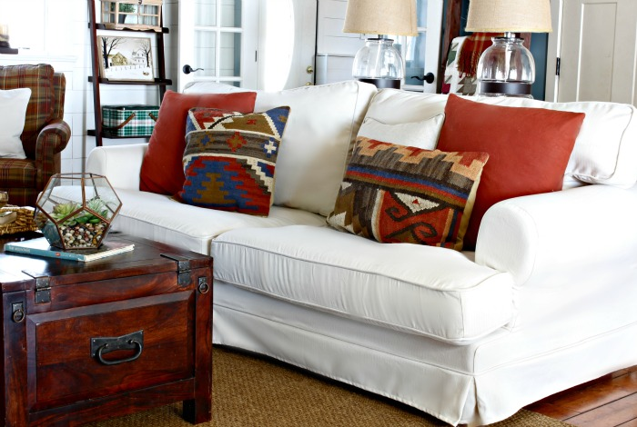 The Two Comfort Works Throw Pillows On Plaid Chairs Match Slipcover To Tie Everything Together Nicely I Love Custom Touches Like That