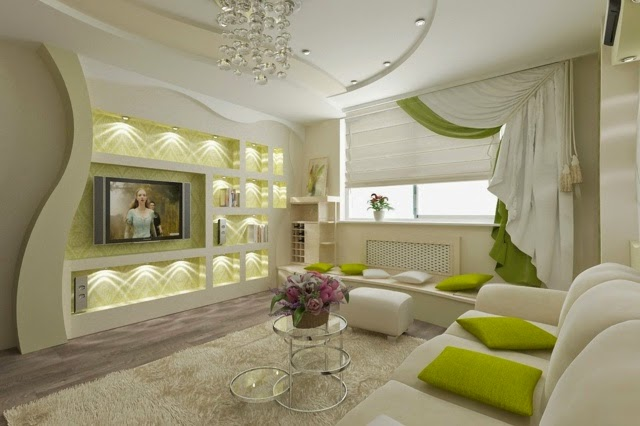 Attractive Modern Living Room With False Ceiling Designs And Wall POP Designs
