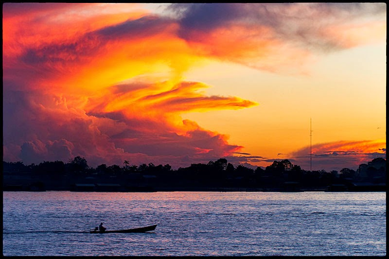 Beautiful sunset over the Amazon river near Leticia, Colombia.