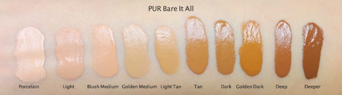 PUR cosmetics Bare It All foundation swatches all shades