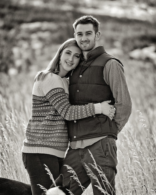 a great black and white engagement portrait of a young couple in Boulder Colorado