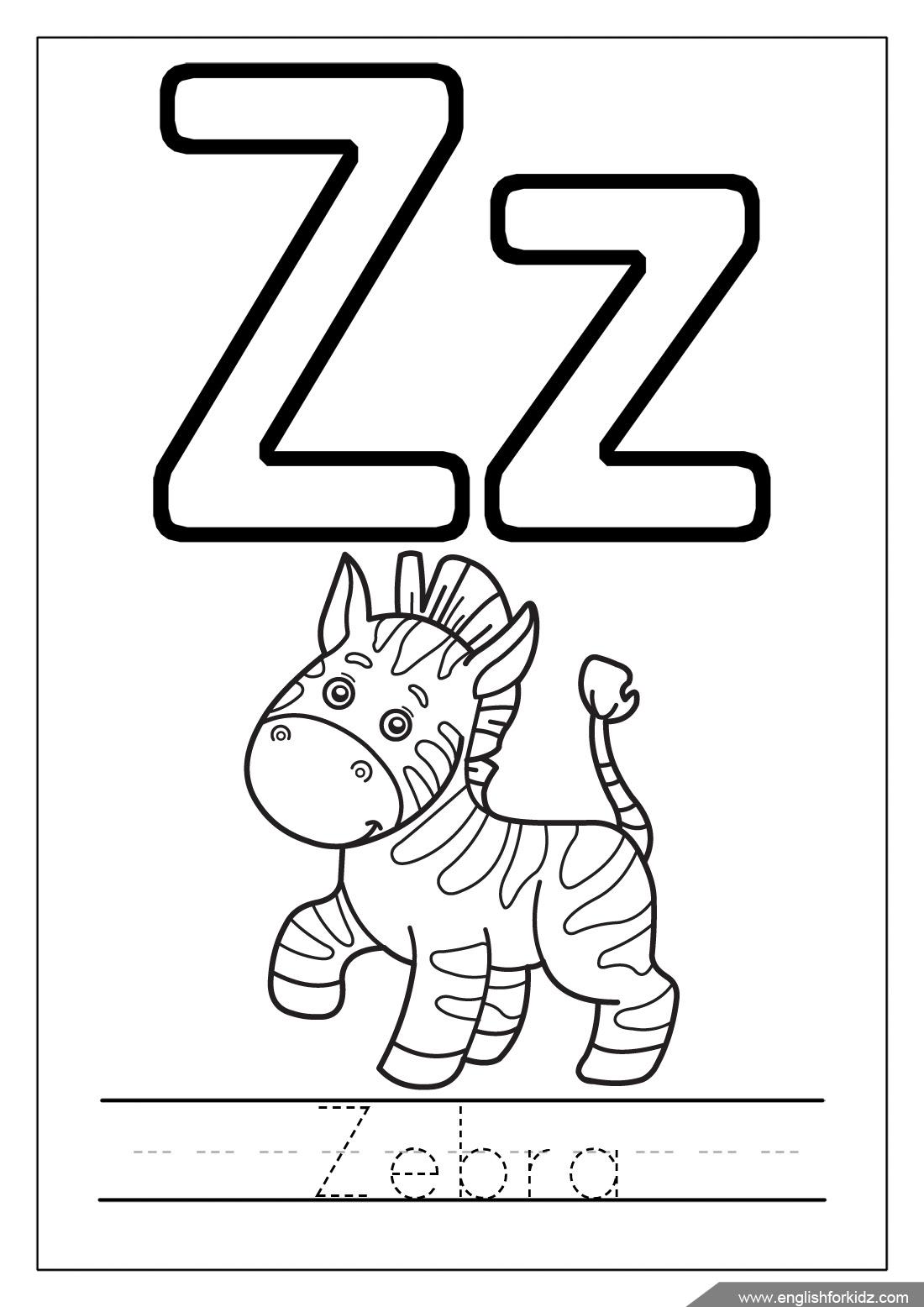 Alphabet Coloring Pages (Letters U - Z)