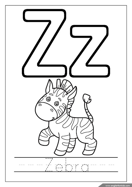 zebra coloring page, alphabet coloring page, missive of the alphabet z coloring