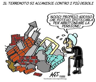 Morani, pensioni, terremoto,  vignetta, satira