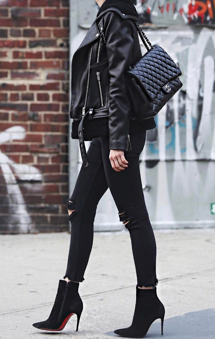 all black everything / leather jacket + boots + crossbody bag + rips
