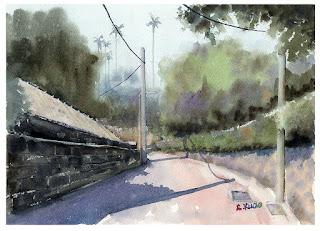 水彩画「温泉路 / 北投」台湾  Wenquan Road  Beitou Taiwan