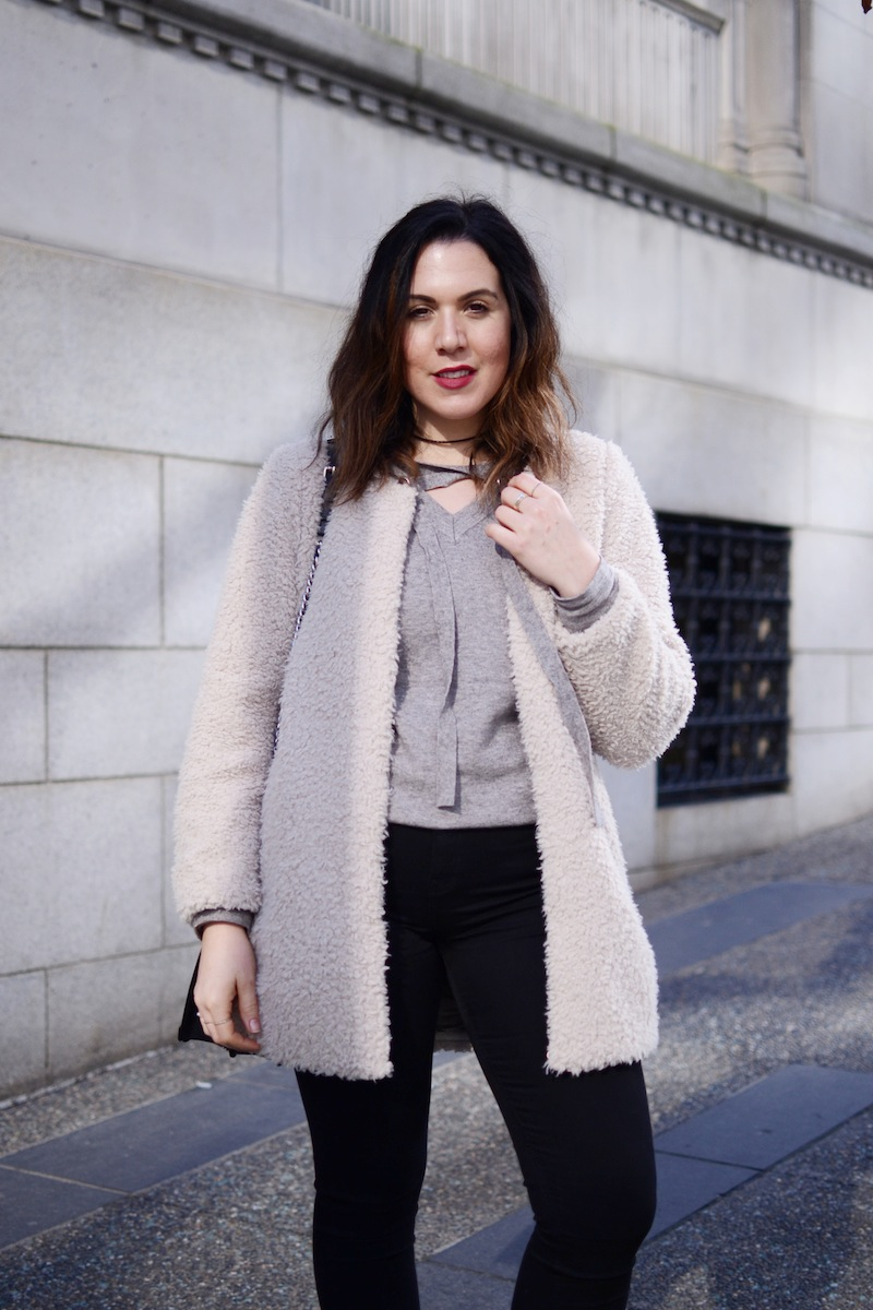 Aritzia shearling coat Le Chateau lace up sweater vancouver fashion blogger cute winter outfit