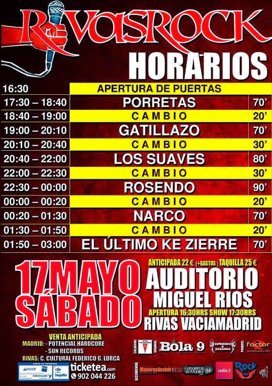 Horarios y cartel definitivo del Rivas Rock Vaciamadrid 2014