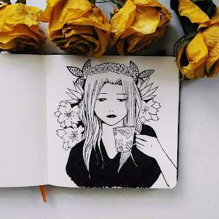 anime girl, drinking tea, floral