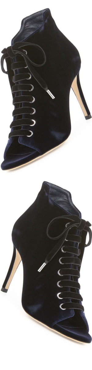Jimmy Choo Mavy Velvet 85mm Bootie, Navy