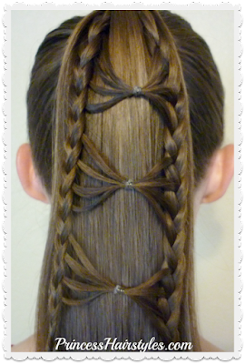 Cute bow tie braid ponytail hair tutorial.