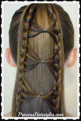 Cute bow tie braid ponytail hair tutorial.