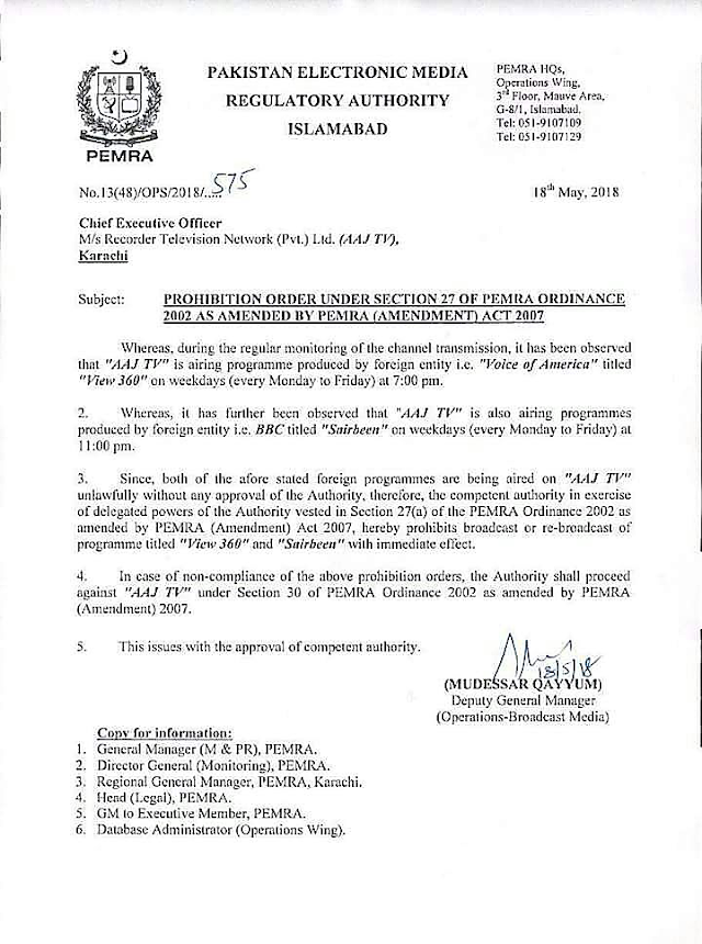 """PROHIBITION OF BROADCAST OF PROGRAMME """"VIEW 360"""" AND """"SAIRBEEN"""" AT AAJ TV"""