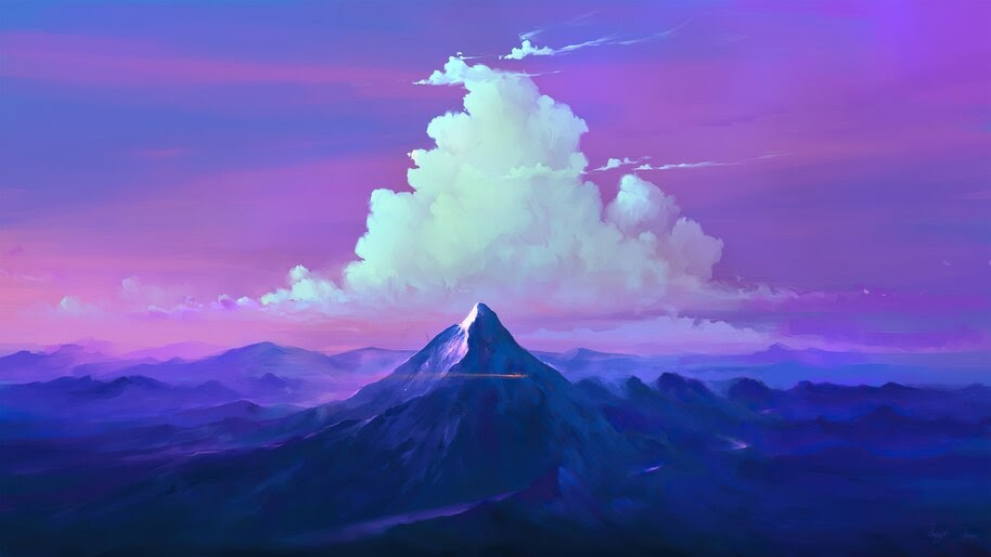 Mountain, Clouds, Sky, Scenery, Digital Art, 4K, #6.1266