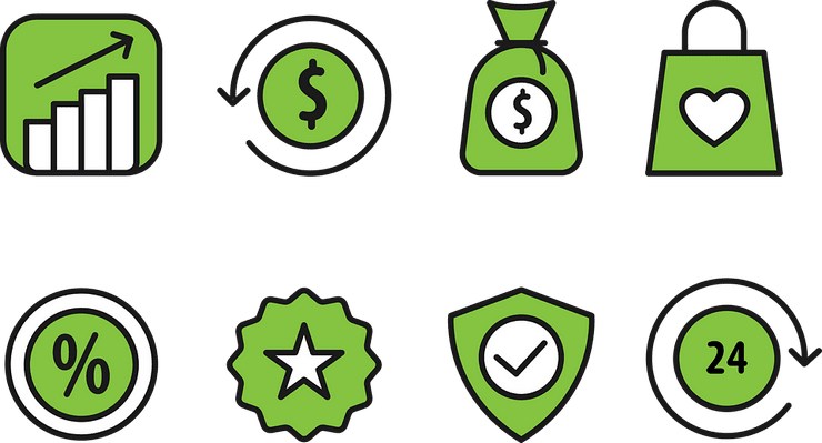 Green profit icons