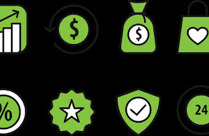 Green profit icons.