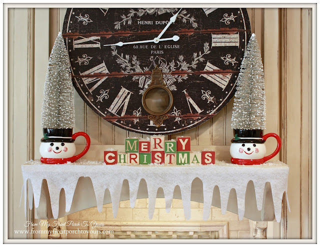 Vintage Farmhouse Christmas Kitchen-Mantel Above StoveFrench Country-From My Front Porch To Yours