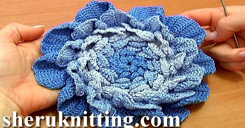 How To Crochet Flowers Thick Petals Tutorial 44 : Sheruknitting: Crochet Large Layered Flower Tutorial 66