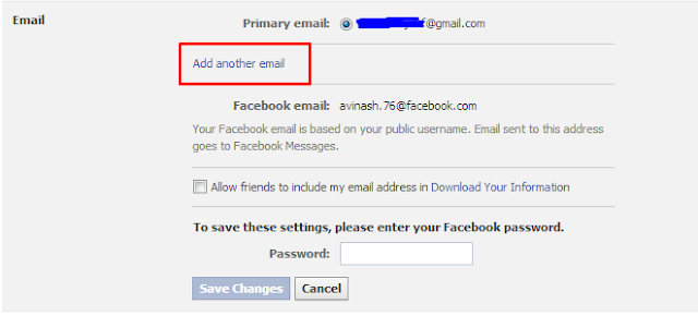 Adding Secondary Email ID to your facebook account-secure facebook account
