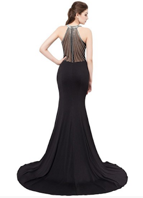 Trumpet/Mermaid Scoop Neck Sweep Train Chiffon Tulle with Crystal Detailing Prom Dresses